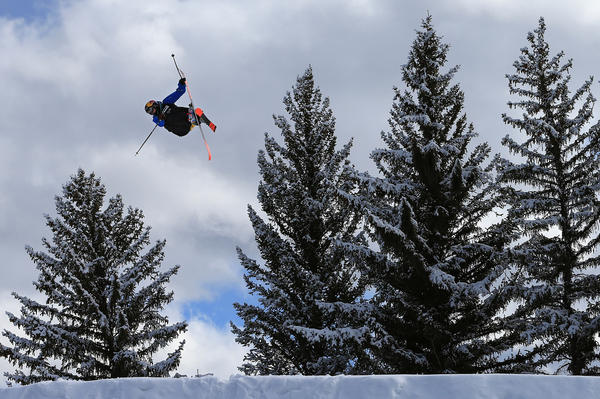 Nick Goepper soars off a jump en route to winning the gold medal in the Men's Ski Slopestyle Final during the Winter X Games Aspen 2013 at Buttermilk Mountain on January 27, 2013 in Aspen, Colorado.