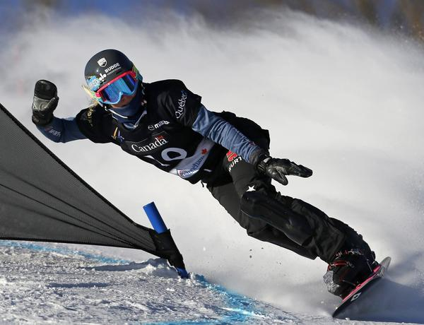 Germany's Isabella Laboeck competes during the women's parallel slalom qualifications at the FIS Snowboard World Championships in Stoneham, Quebec, January 27, 2013
