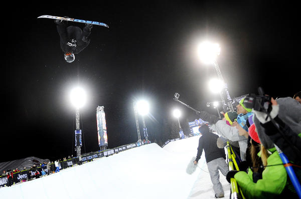 Shaun White competes during the men's Snowboard SuperPipe final at the ESPN X Games Sunday, January 27, 2013 at Buttermilk Mountain in Aspen, Colorado. White won gold for the sixth year in the row with a score of 98.