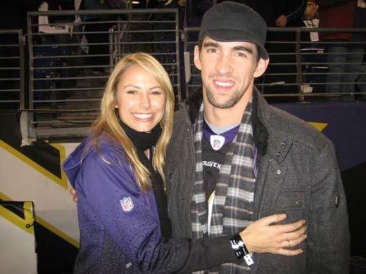 Super Bowl XLVII: Famous Baltimore Ravens and San Francisco 49ers fans: Stacy Keibler and Michael Phelps