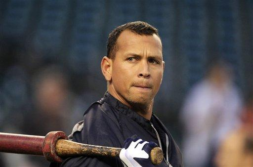 "In this Oct. 17, 2012 file photo, New York Yankees' Alex Rodriguez takes batting practice before Game 4 of the American League Championship Series against the Detroit Tigers, in Detroit. Major League Baseball says it is ""extremely disappointed"" about a new report that says records from an anti-aging clinic in the Miami area link Rodriguez and other players to the purchase of performance-enhancing drugs."