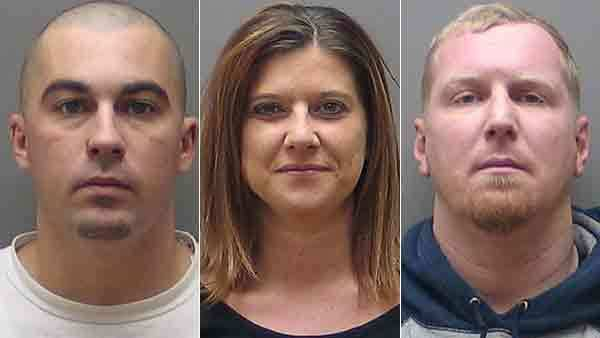 Booking photos of Christopher Miner, Susan Patton and Stephan Bolt (from left)