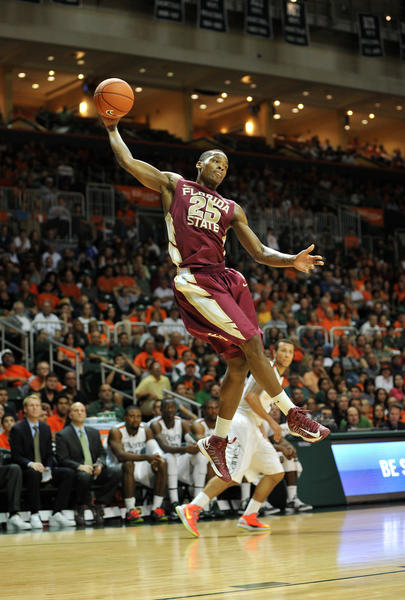 Florida State Seminoles guard Aaron Thomas (25) catches a rebound during the second half against Miami Hurricanes at the BankUnited Center. Miami won 71-47.