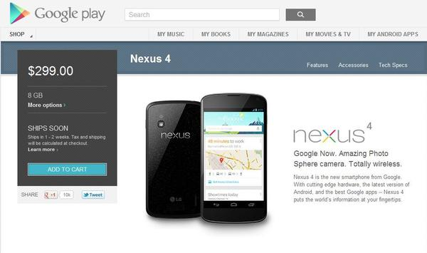 After weeks of being out of stock, the Google Nexus 4 smartphone is back in the Google Play store.