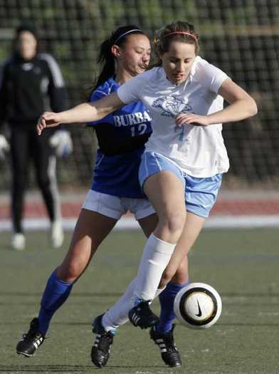 CV's Whitley Boller drives the ball past Burbank's Alessia Dal Monte.