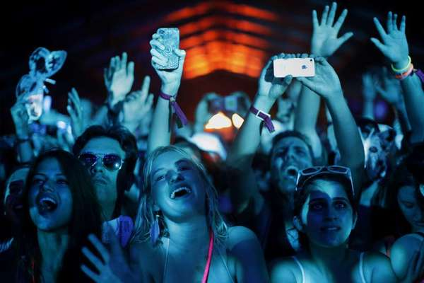 The crowd in the dance tent at Coachella in 2012.