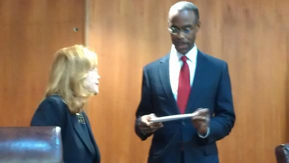 State Sen. Eleanor Sobel and Schools Superintendent Robert Runcie