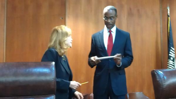 State Sen. Eleanor Sobel and Schools Superintendent Robert Runcie