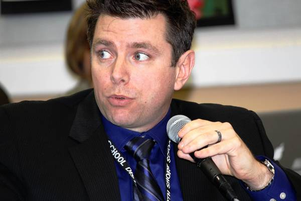 Assistant Superintendent of Student Services Matt Barbini talks about school discipline at a recent District 112 Board of Education meeting.