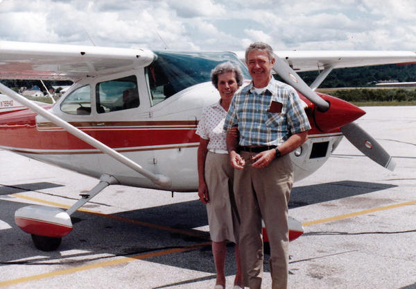 James Farrell with his wife, Gertrude Skivington. Farrell was a passionate small-plane pilot.