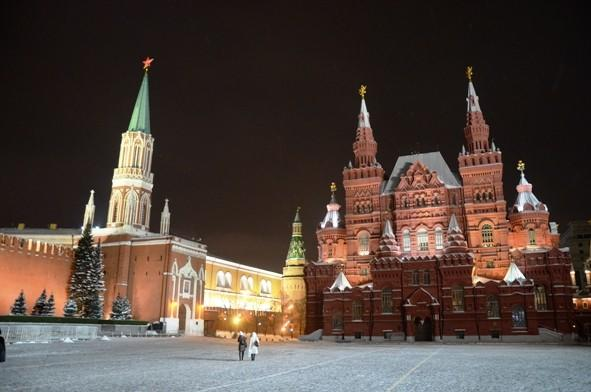 Even well-trafficked Red Square can look pretty lonely on a subzero January night in Moscow.