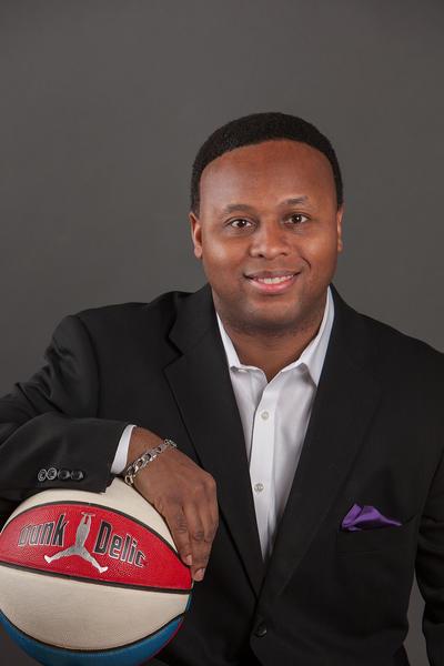 """Profile shot of Derrick E. Vaughan, president of Baltimore-based Dunakdelic Sports Marketing, coiner of the word """"dunkadelic."""" Handout art."""