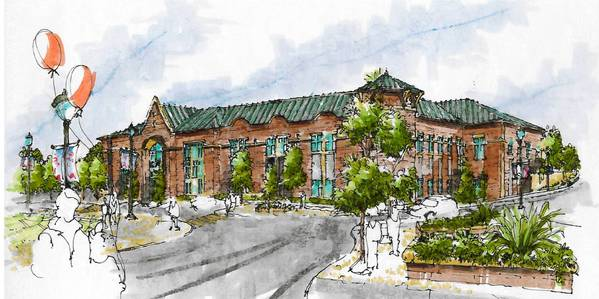 Concept drawing of new Mundelein Village Hall.