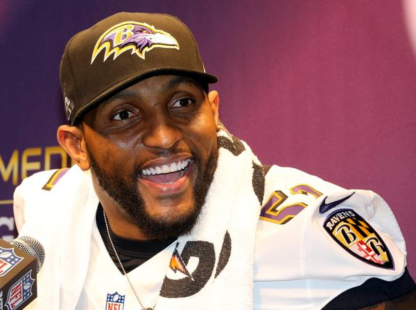 Ray Lewis answers questions Tuesday during Media Day in New Orleans.