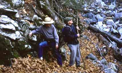 Trent Sanders, left, with Don Doyle, leads a Times reporter on a hike of Mt. Wilson in 2004.