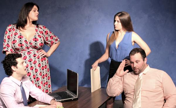 "Daryn Kahn (from left), Stephanie Miller, Danielle Alagna and Robert Walker Branchaud star in ""Fat Pig."""