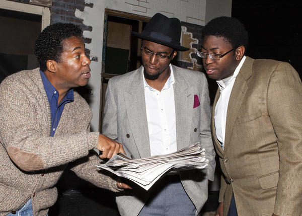 "Dwayne Allen (from left), Rosney Mauger and Michael Sapp rehearse ""King Henley II"" at Seminole State College."