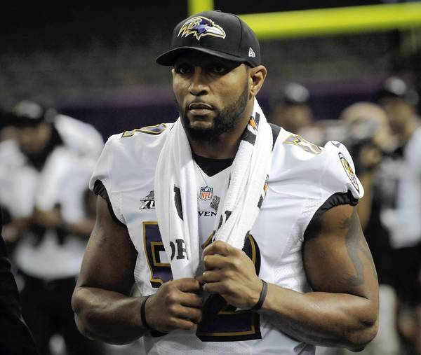 Baltimore Ravens' Ray Lewis enters the field during the Baltimore Ravens portion of Media Day at the Mercedes Benz Super Dome in New Orleans, Louisiana, Tuesday, January 29, 2013.