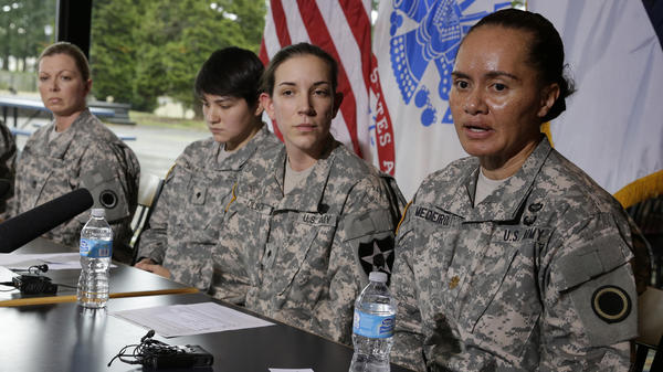 U.S. Army soldiers talk to reporters about the decision to allow women to be in front-line combat positions.