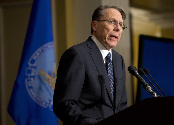 Wayne LaPierre, executive vice president of the National Rifle Assn., is scheduled to testify before the Senate Judiciary Committee on Wednesday. Above, he speaks at a news conference a week after Sandy Hook massacre last month.