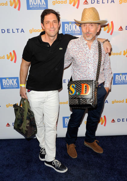 Designer Jonathan Adler and creative ambassador for Barneys Simon Doonan attend the GLAAD Manhattan: Brazilian Carnival at 230 Fifth Avenue on August 2, 2011 in New York City.