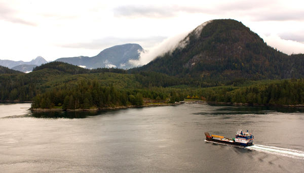 The Aurora Explorer approaches Stuart Island in British Columbia's rugged Inside Passage.
