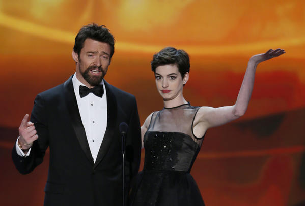 "Actors Hugh Kackman and Anne Hathaway introduce a clip from ""Les Miserables"" at the 19th annual Screen Actors Guild Awards in Los Angeles, Calif."