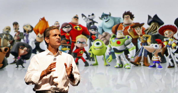 "Disney Interactive Media Group co-president John Pleasants showing off ""Infinity"" at an event in January"