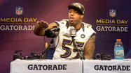Terrell Suggs didn't need a microphone. The booming voice from the Ravens outside linebacker was easily heard during the Super Bowl media day Tuesday.