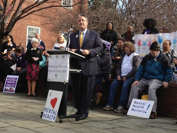 State Sen. Richard Madaleno discusses the need for increased funding for mental health services during a rally in Annapolis Tuesday.