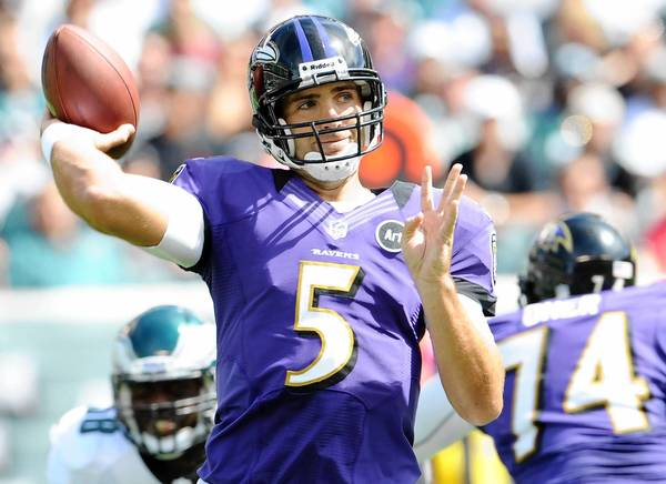 Ravens Quarterback Joe Flacco against the Eagles at Lincoln Financial Field in Philadelphia on Sunday September 16, 2012.