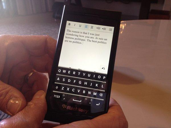 A developer version of one of the new BlackBerry 10 smartphones that Research in Motion will unveil on Wednesday morning.