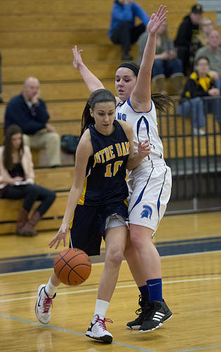 Notre Dame Green Pond's Julie Romich (left) drives the ball against Southern Lehigh's Mady Campbell during Girl's Basketball game at Southern Lehigh High School on Tuesday.