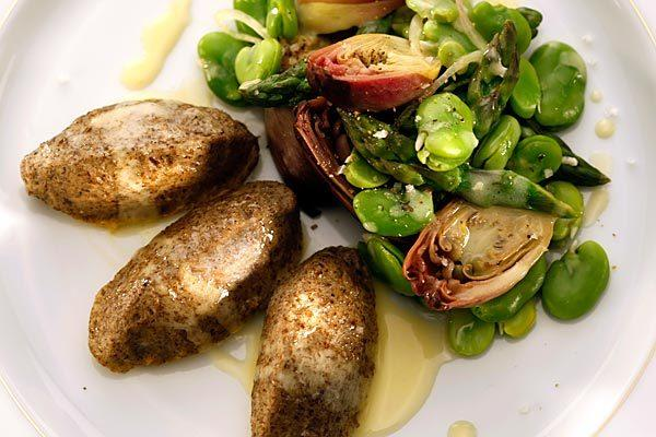 Mushroom quenelles with seasonal vegetables.