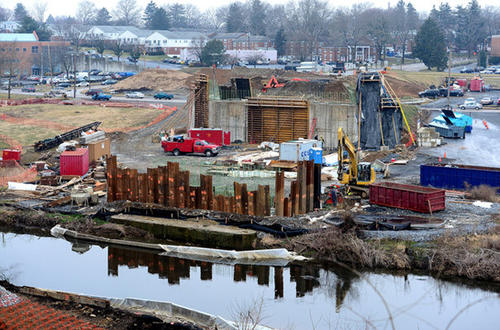 Workers build the new 15th Street Bridge in Allentown Tuesday.  J.D. Eckman Inc. of Atglen, Pa. is general contractor on the project. This view is from the south side of the bridge looking north.