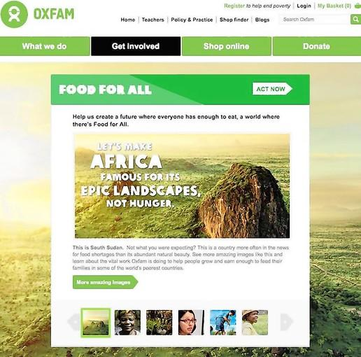 An Oxfam ad campaign in Britain seeks to attract donors by showing beauty, not distress, in Africa.