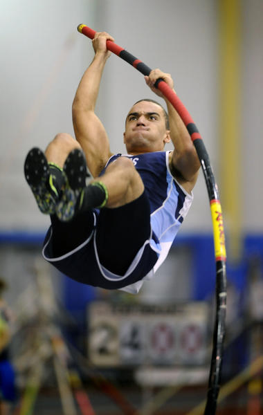 "South River High's Will Fountain clears 11' 6"" to finish second in the boys pole vault during the Anne Arundel County indoor track championship."