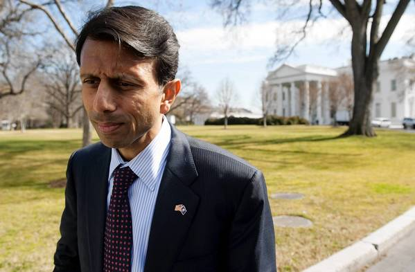 Louisiana Republican Gov. Bobby Jindal speaks to the media on the North Lawn of the White House in Washington, D.C, on Feb. 27, 2012, following a meeting of the National Governors Association with President Barack Obama.