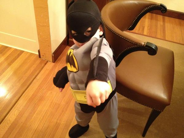 "Might this Bat-child's perception of his own ""superpowers"" inspire him to start helping out around the house? His mother certainly hopes so."