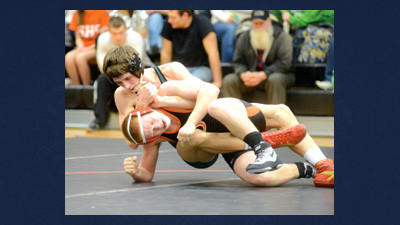 North Star's Tevin Mostoller, top, tries to turn Somerset's Daniel Talley at 138 pounds on Tuesday night.