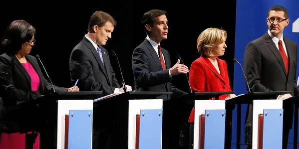 Jan Perry, left, Kevin James, Eric Garcetti, Wendy Greuel and Emanuel Pleitez, candidates for L.A. mayor, faced off Monday night at UCLA.