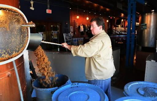 Michael Sexton brews Black Rye Pale, the official beer of Lehigh Valley Beer Week, last week at Bethlehem Brew Works.