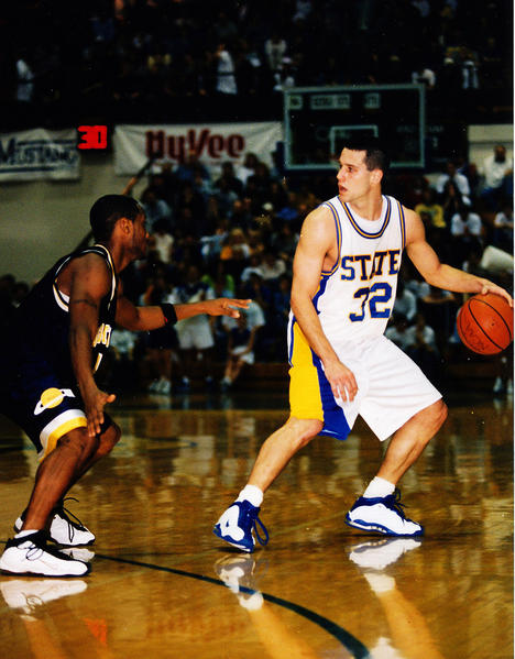 Brian Norberg (32) looks for an open South Dakota State teammate in the late 1990s.