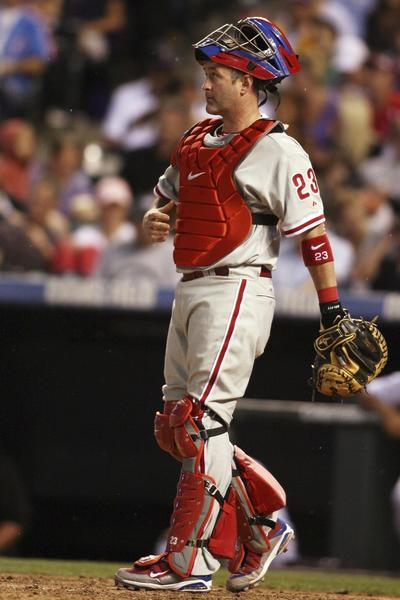 Philadelphia Phillies catcher Brian Schneider (23) during the fifth inning against the Colorado Rockies at Coors Field. The Phillies won 5-0.
