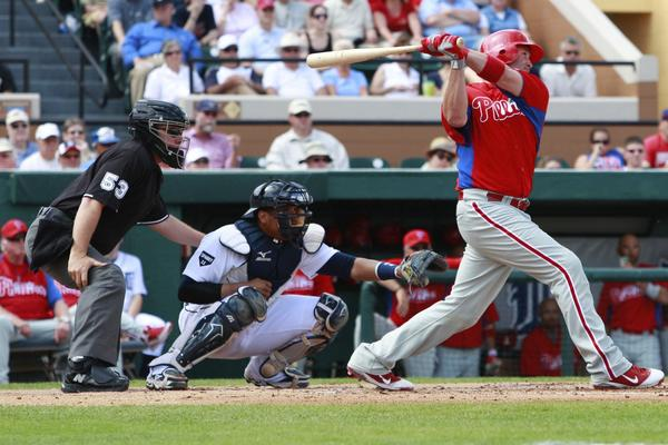 Philadelphia Phillies catcher Brian Schneider (23) connects on a homerun during a spring training exhibition game against the Philadelphia Phillies at Joker Marchant Stadium.