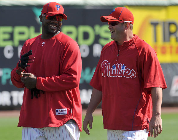 (left) Philadelphia Phillies' Ryan Howard (6) jokes with Brian Schneider (23) before the game against the Toronto Blue Jays on Wednesday, March 31, 2010 at Bright House Field