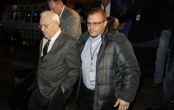 Former Gov. George Ryan arrives at a West Side halfway this morning. Ryan completed more than 5 years of a 6 1/2-year prison sentence in Terre Haute, Ind. for a corruption conviction.