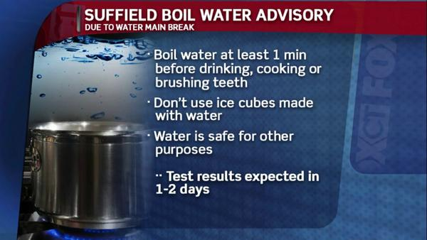 A boil water advisory has been issued for Suffield after a water main break Wednesday morning.