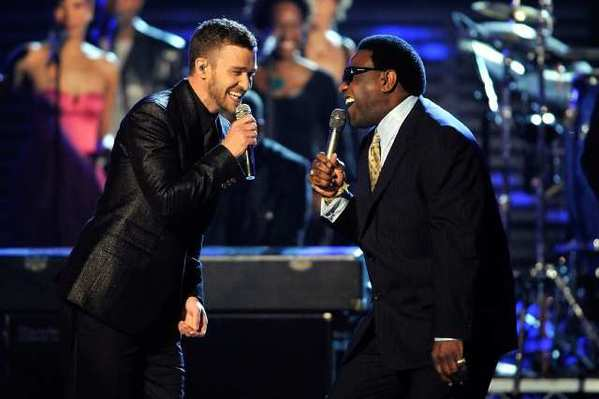 Justin Timberlake, left, and Al Green at the 2009 Grammy Awards.