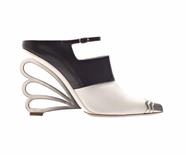 A Nicholas Kirkwood leather shoe ($1,095). The designer won the British Fashion Council/Vogue Designer Fashion Fund prize.